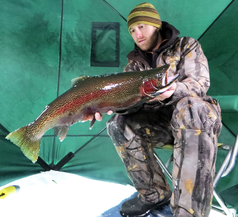 Pretty lake superior rainbow trout big kype for Lake superior ice fishing