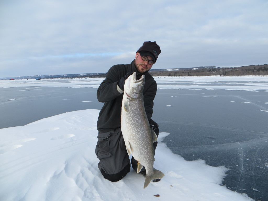Lake superior ice big kype for Lake trout ice fishing